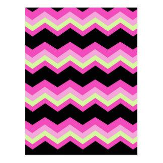 girly pattern zigzag fuchsia hot pink chevron postcard