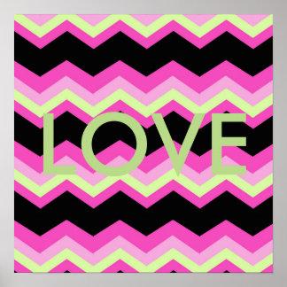 girly pattern zigzag fuchsia hot pink chevron poster