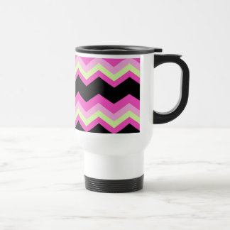 girly pattern zigzag fuchsia hot pink chevron travel mug