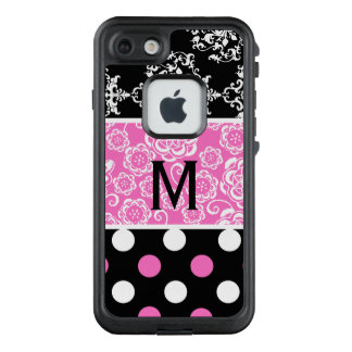 Girly Patterns Monogram LifeProof iPhone 7 Case