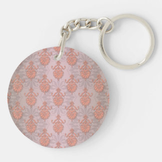Girly Peach Damask Keychain