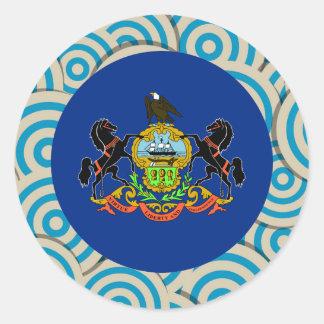 Girly Pennsylvanian Flag Gift Classic Round Sticker
