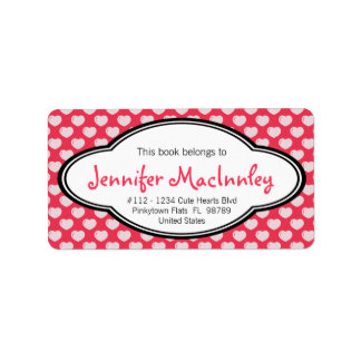 Girly Personalized Bookplate Hot Pink with Hearts