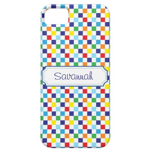 Girly Personalized Colorful Quilt Squares Pattern iPhone 5 Cases
