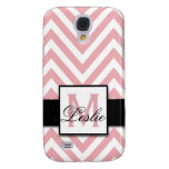 GIRLY, PERSONALIZED CORAL PINK CHEVRON PATTERN SAMSUNG GALAXY S4 COVER