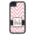GIRLY, PERSONALIZED CORAL PINK CHEVRON PATTERN iPhone 5 CASE