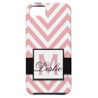 GIRLY, PERSONALIZED CORAL PINK CHEVRON PATTERN iPhone 5 CASES