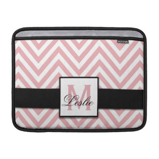 GIRLY, PERSONALIZED CORAL PINK CHEVRON PATTERN MacBook AIR SLEEVES