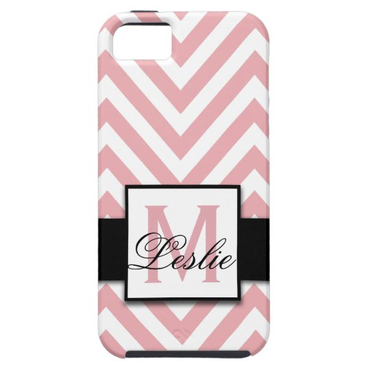 GIRLY, PERSONALIZED CORAL PINK CHEVRON PATTERN iPhone SE/5/5s CASE
