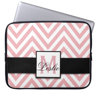 GIRLY PERSONALIZED CORAL PINK CHEVRON PATTERN LAPTOP COMPUTER SLEEVE