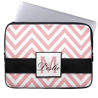 GIRLY, PERSONALIZED CORAL PINK CHEVRON PATTERN LAPTOP SLEEVES