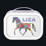 """Girly Personalized Fantasy Horse Lunch Box<br><div class=""""desc"""">All the colors of the rainbow in this horse with multicolored swirled stripes. Ready to be personalized with your desired name,  font and text color,  or you may remove the name entirely if you prefer. Click on &quot;Customize it&quot; to make any changes.</div>"""