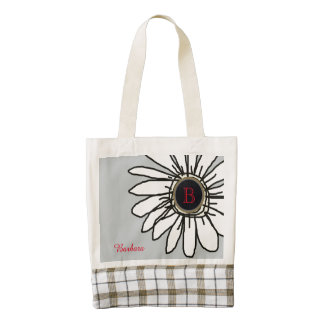 girly personalized flower zazzle HEART tote bag