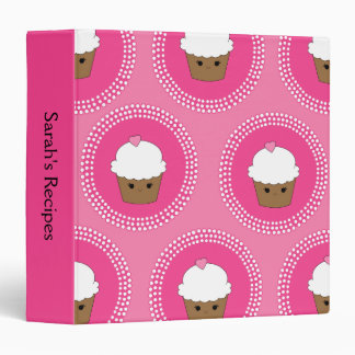 Girly Personalized Kawaii Cupcake Recipe Binder