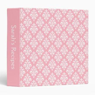 Girly Personalized Light Pink Damask Recipe Binder