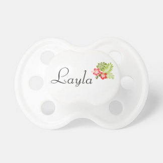 Girly Personalized Name Hawaiian Flower Hibiscus Pacifier