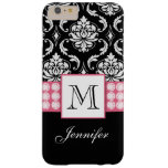 Girly Personalized Pink Black Damask Diamonds Barely There iPhone 6 Plus Case