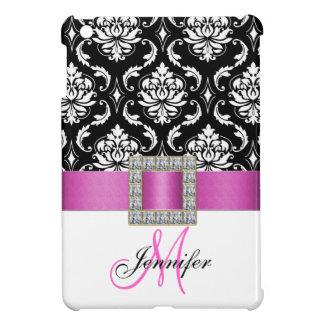 Girly Personalized Pink Black Damask Pattern iPad Mini Case