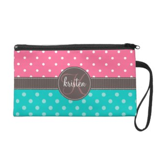 Personalized Pink & Teal Dots Wristlet Clutch