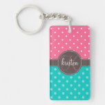 Girly Personalized Pink & Teal Dots Rectangular Acrylic Key Chains