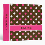 Girly Personalized Polka Dots School Binder