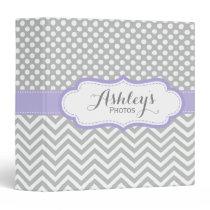 Girly Personalized Purple Gray Photo Binder