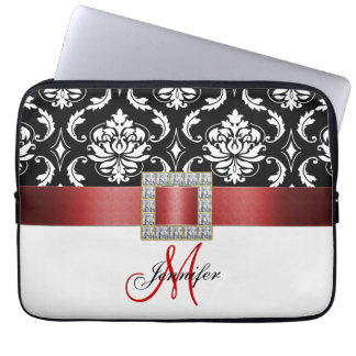 Girly Personalized Red Black Damask Pattern Computer Sleeve