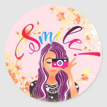"""USA Themed Girly Photoelectric Bohemian Chic """"Smile"""" Classic Round Sticker"""