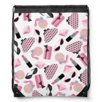 Girly Pink Accessories Pattern Drawstring Backpack