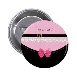 Girly Pink And Black Baby Shoes Birth Announcement 2 Inch Round Button