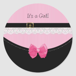 Girly Pink And Black Baby Shoes Its a Girl Classic Round Sticker