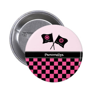 Girly Pink and Black Checker Racing Flags and Name Pins