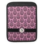 Girly pink and black damask monogram emblem sleeve for iPads