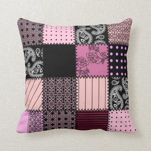 Girly Pink and Black Decorative Pillow Couch Zazzle