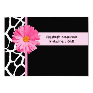 Girly Pink And Black Giraffe Baby Shower Card