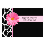 Girly Pink And Black Giraffe Baby Shower Announcements