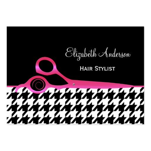 Girly Pink and Black Houndstooth Hair Salon Business Card Templates