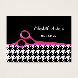 Girly Pink and Black Houndstooth Hair Salon Business Card