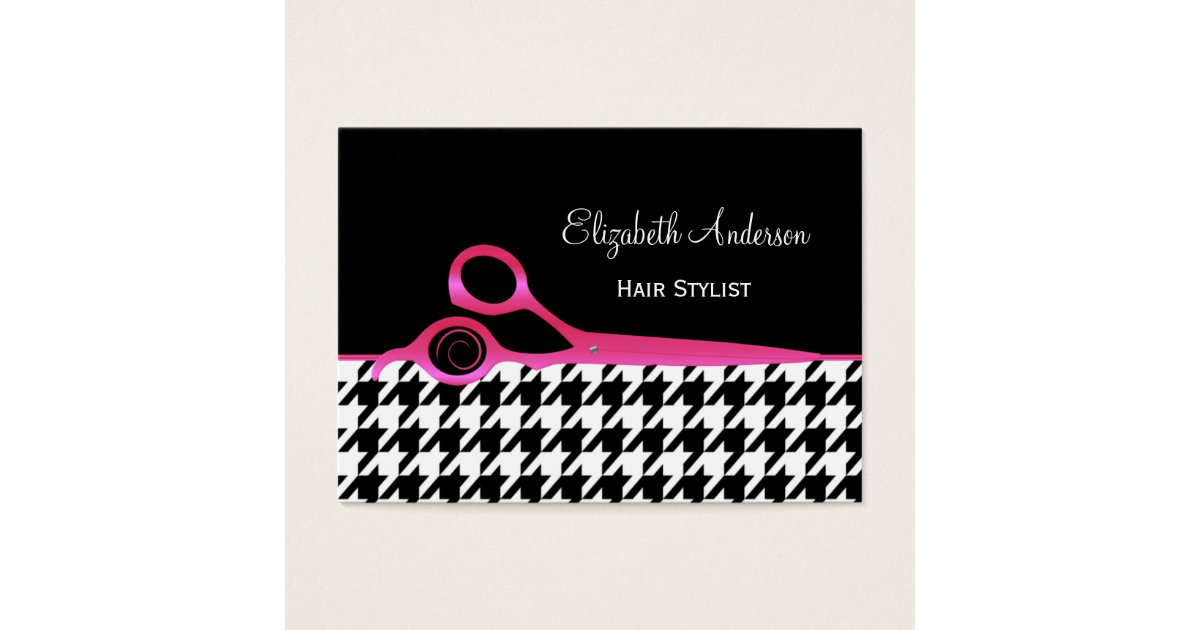 Girly Pink and Black Houndstooth Hair Salon Business Card | Zazzle.com