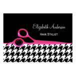Girly Pink and Black Houndstooth Hair Salon Large Business Card