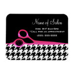 Girly Pink and Black Houndstooth Hair Salon Rectangular Photo Magnet