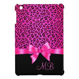 Girly Pink and Black Leopard Print Elegant Classy iPad Mini Covers