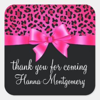 Girly Pink and Black Leopard Print Elegant Classy Square Sticker