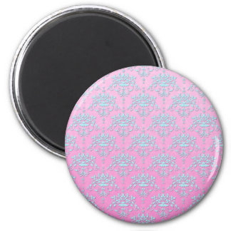 Girly Pink and Blue Floral Damask 2 Inch Round Magnet