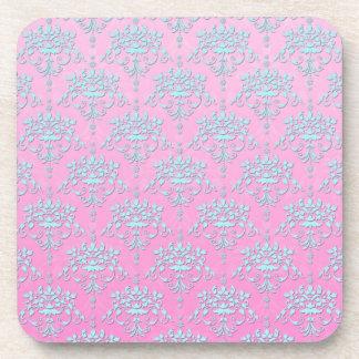 Girly Pink and Blue Floral Damask Beverage Coaster