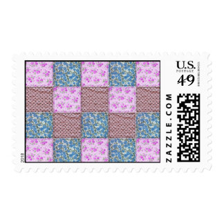 Girly Pink and Blue Floral Quilt Print Postage