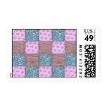 Girly Pink and Blue Floral Quilt Print Postage Stamps