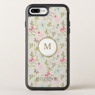 Girly Pink and Blue Flowers Trendy Gold Monogram OtterBox Symmetry iPhone 7 Plus Case