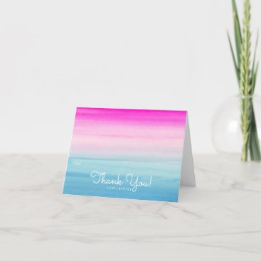 Girly Pink and Blue Ombre Watercolor Thank You Card