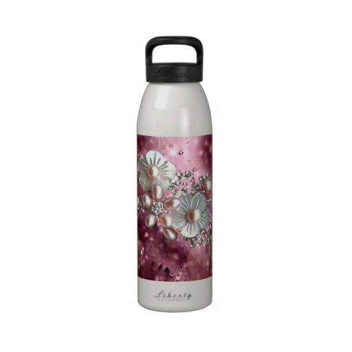 Girly Pink And Cute Flowers Drinking Bottle